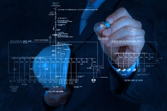 Engineer draws an electronic single line schematic Stock Image