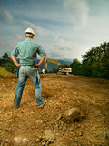 Engineer evaluating construction progress Stock Photos