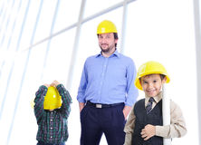 An engineer father and kids royalty free stock photography