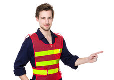 Engineer with finger point aside Stock Image