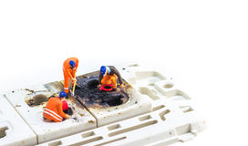 Engineer fix Burned plug socket Royalty Free Stock Photography
