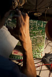 Engineer fixing an analog television circuit board Stock Photo