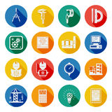 Engineer Flat Round Icons Set Shadow. Engineering building construction projects tools and equipment flat round slant shadow icons set abstract vector Stock Image