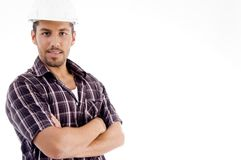 Engineer with folded arms. On an isolated white background royalty free stock photo