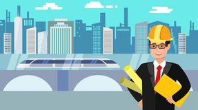 Engineer with folders in his hand with the city and hyperloop on a background. vector illustration