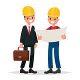 Engineer and foreman discuss draft  building. Vector illustratio Royalty Free Stock Photos