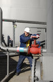 Engineer and fuel tank storage Stock Images