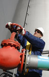 Engineer and fuel tank storage Stock Photography