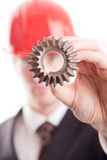 Engineer and a gear Stock Photo