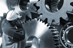 Engineer and gear parts idea Royalty Free Stock Photo
