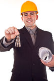Engineer giving keys Royalty Free Stock Photos