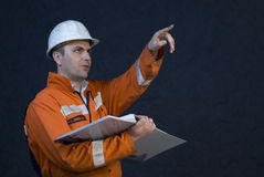 Engineer giving orders Stock Photo