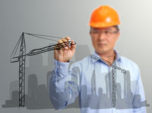Engineer hand draw construction site on the Stock Photos