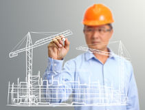 Engineer hand draw construction site on the virtual Royalty Free Stock Images