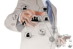 Engineer hand works industry diagram on virtual co Royalty Free Stock Photo