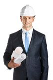 Engineer in hard hat hands blueprints. Isolated on white. Concept of successful construction Stock Photography