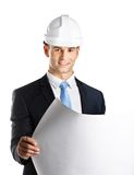 Engineer in hard hat hands draft. Engineer in hard hat hands layout, isolated on white. Concept of successful construction Stock Photos
