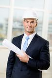 Engineer in hard hat hands sketch Stock Image