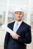 Engineer in hard hat hands sketch Stock Image