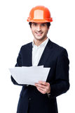 Engineer in hard hat isolated on white Royalty Free Stock Photos