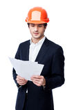 Engineer in hard hat isolated on white Stock Photos