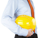 Engineer with hardhat. Close up of an engineer with hardhat isolated on white background Royalty Free Stock Photos