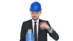 Engineer in a hardhat giving a public speech Stock Images