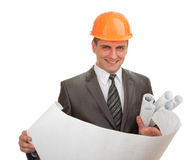 Engineer in hardhat with plans Royalty Free Stock Photos