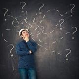 Engineer having questions royalty free illustration