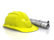 Engineer helmet and blueprints Stock Photos