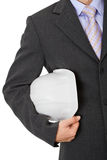 Engineer with helmet, close-up without face Royalty Free Stock Image