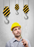 Engineer with a helmet on his head Royalty Free Stock Photography