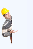 Engineer with a helmet on his head Stock Photos