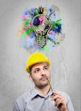 Engineer with a helmet on his head Royalty Free Stock Image