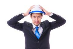 Engineer with helmet isoleted Stock Photo