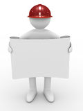 Engineer in helmet on white background. Isolated 3D image Royalty Free Stock Photo