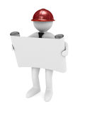Engineer in helmet on white background. 3D image Stock Photos