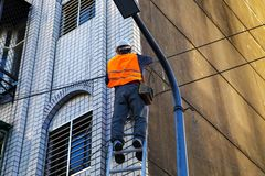 Engineer, Highrise Facade, Cable Engineering, Security, Royalty Free Stock Images