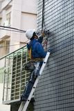 Engineer, Highrise Facade, Cable Engineering, Security, Stock Image