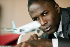 Engineer with his airplane model Royalty Free Stock Photography