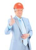 Engineer his thumb up. Stock Image
