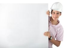 Engineer holding a banner Stock Photo
