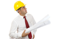 Engineer holding blue prints Stock Photos