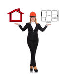 Engineer holding blueprint and house Stock Photography