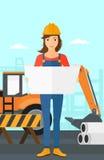 Engineer holding a blueprint. Stock Photos