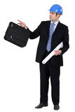 Engineer holding a briefcase Stock Photos