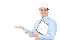 Engineer holding clipboard Royalty Free Stock Photos