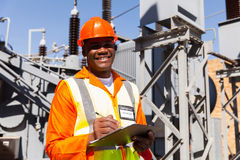 Engineer holding clipboard royalty free stock photo