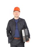 Engineer holding folders. Stock Images