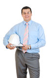 Engineer holding hard hat Royalty Free Stock Photos